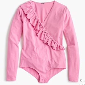 J. Crew ruffle front pink bodysuit-Small